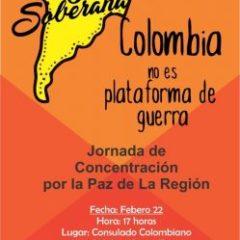 ¡Colombia no es base militar yanqui!