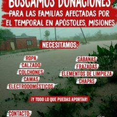 Buscamos donaciones para familias afectadas por el temporal