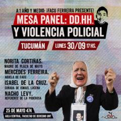 Mesa panel «DDHH y violencia policial» en Tucumán
