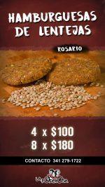 Venta de hamburguesas de lentejas en Rosario